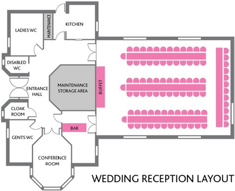 wedding reception layout for mc hookwood memorial hall surrey