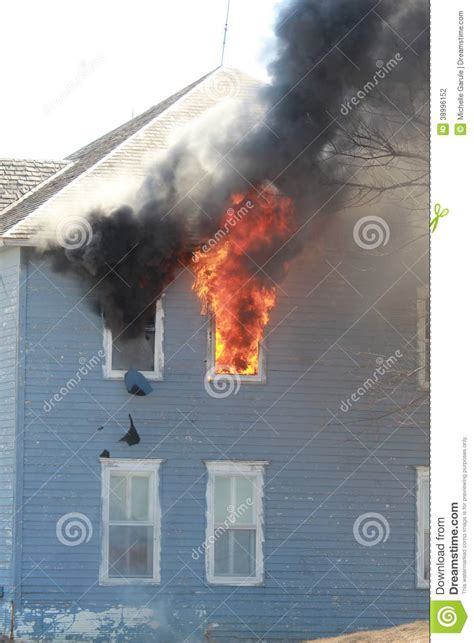 Smoke Comes Out Of Fireplace by Broken Window In Flames Stock Photo Image 38996152