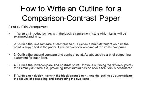 Contrast Comparison Essay Outline by Compare Contrast Essay Outline Exle Compare And