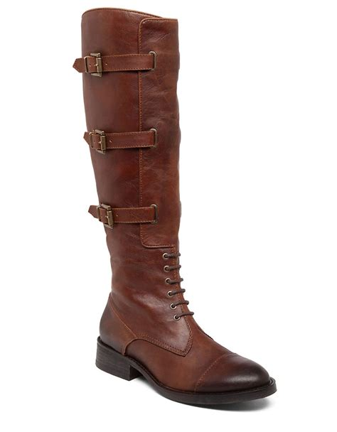vince camuto fenton wide calf boots in brown lyst
