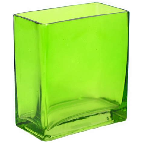 Rectangle Vase Glass by Glass Rectangle Vase 6 Quot Green Gh501509