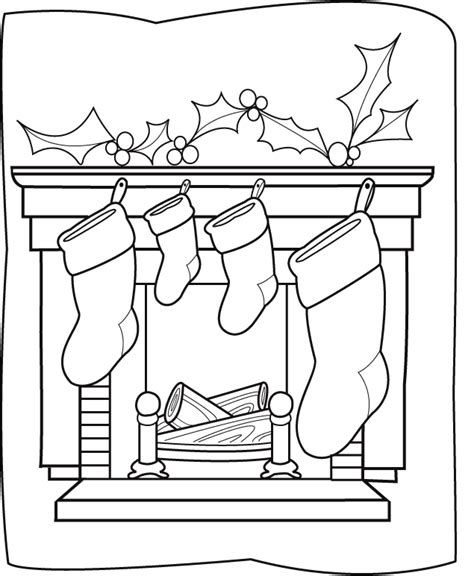 coloring page christmas fireplace coloring page chimney christmas sock coloring me