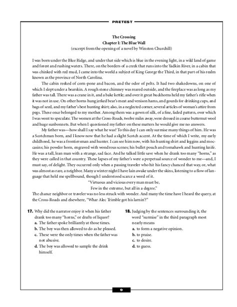reading comprehension test with answer key pdf reading comprehension test for high school with answer key