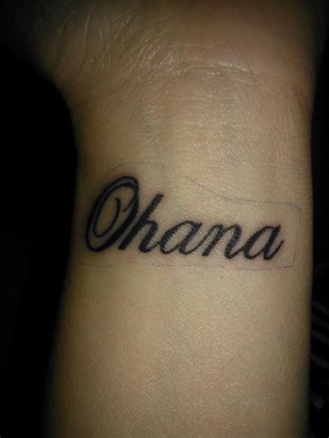 cursive wrist tattoo my wrist quot ohana means family and family means no