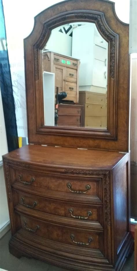Single Dresser With Mirror by Uhuru Furniture Collectibles Sold Bow Front Single