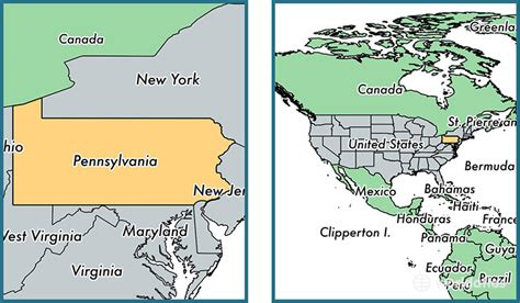 pennsylvania on map of usa where is pennsylvania state where is pennsylvania
