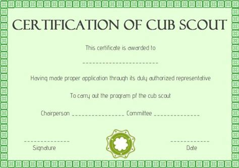 cub scout award card template scout certificates template 12 free printables in word