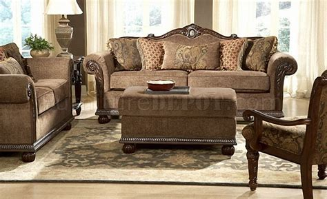 Living Room Gold Sofa Brown Gold Chenille Classic Living Room Sofa W Marble Details