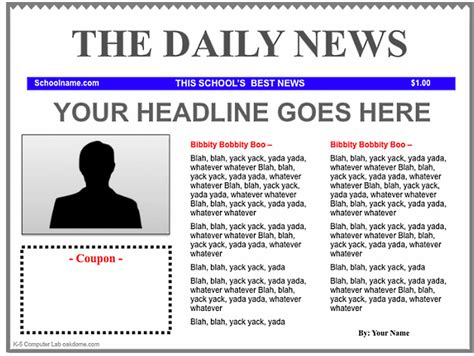 Newspaper Templates Free by Free Newspaper Template Cyberuse