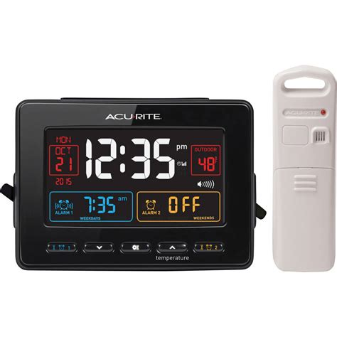 acurite atomic dual alarm clock usb dst snooze ac wireless weather station sense ebay