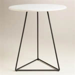 marble accent tables white marble and black metal round accent table