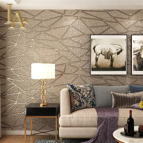 home interior wall hangings aliexpress buy high quality thick flocked modern geometry 3d wallpaper for walls decor