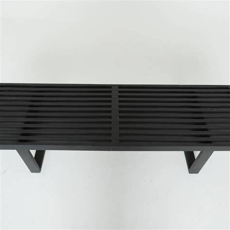 slatted wood bench black slatted wood bench by george nelson for herman
