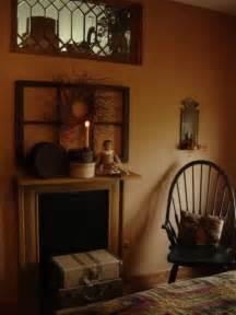 Primitive decor mantel ideas love the window up high too