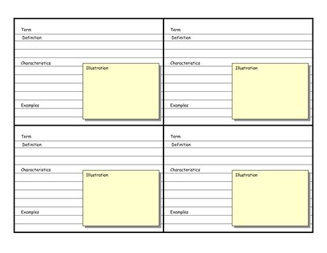 flash card template excel 8 best images of printable blank vocabulary cards
