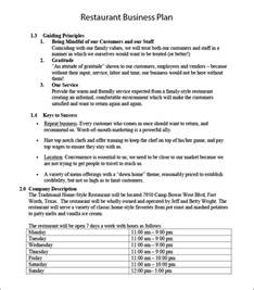 restaurant plan template restaurant business plan template 11 free word pdf