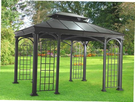 backyard gazebo kits metal gazebo sunjoy hardtop slate bbq steel gazebo at