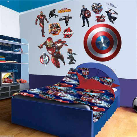superhero bedroom accessories super hero captain america iron man wall sticker mural pvc