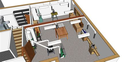 workshop layout sketchup creekside woodshop the workshop