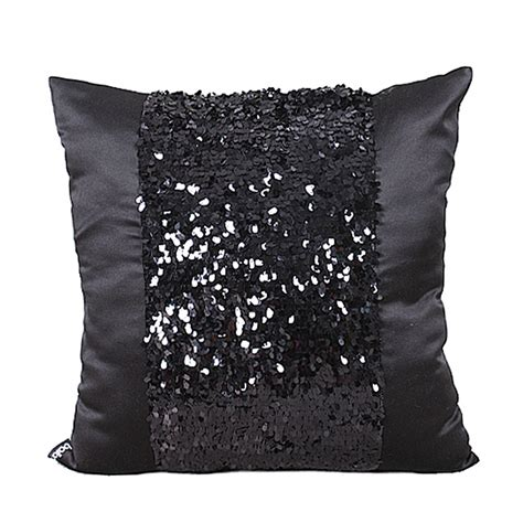black throw pillows for sofa fashion modern simple emulate silk sequin black shining
