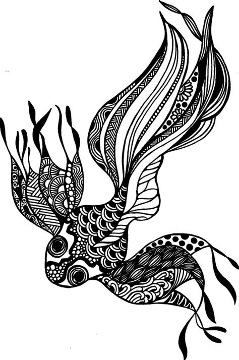black pen doodles black and white drawing using pen fish goldfish doodle