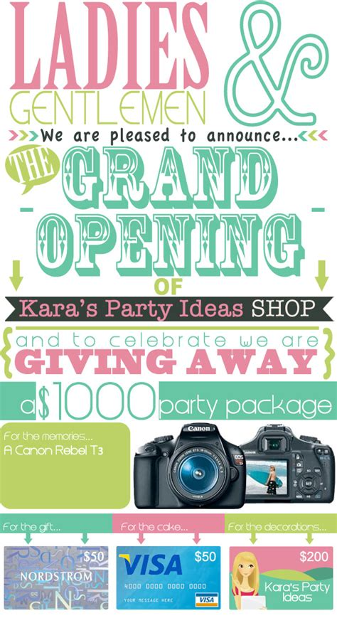 Party Giveaway Ideas - karas party ideas shop grand opening celebration giveaway jpg