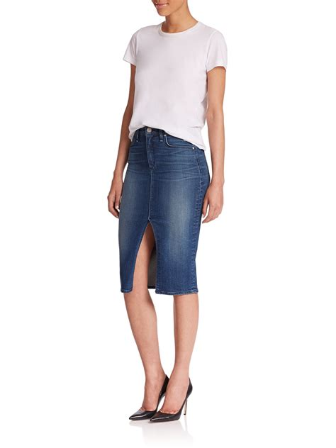 Dress Denim Longhem Denim Belt Tunik Denim lyst mcguire marino denim pencil skirt in blue