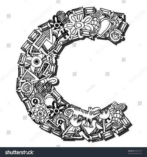 doodle huruf a z childlike doodle abc letter c stock illustration