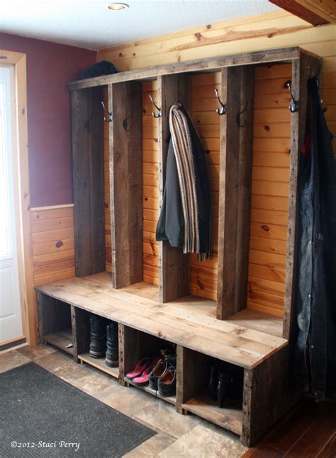 reclaimed wood constructed  rustic entryway bench
