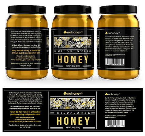 Wild Flower Honey Labels Template Design Honey Jar Labels Template