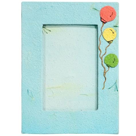 Handmade Paper Photo Frames - handmade blue paper photo frame with balloon designs from