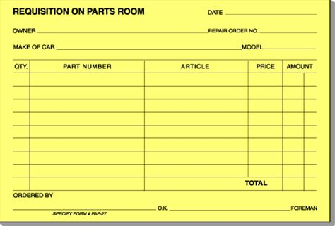 parts requisition form template quotes