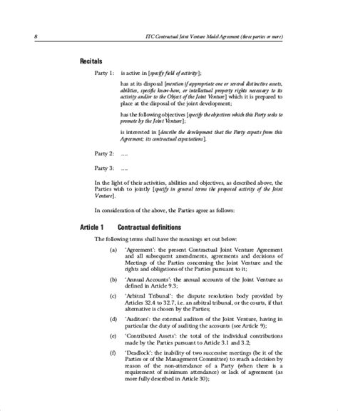 contractual joint venture agreement template joint venture agreement 9 free word pdf documents