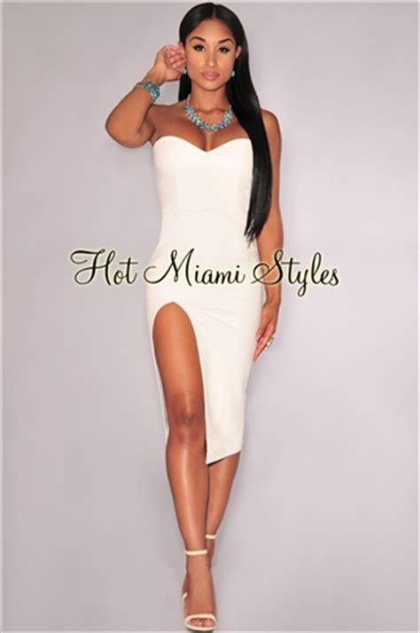 Doff Mini White white faux leather high slit strapless dress