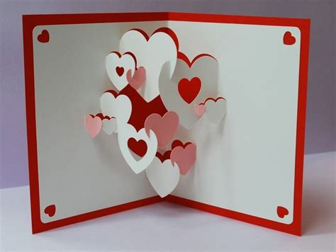 3d popup card template handmade pop up greeting cards ideas hearts 3d pop up