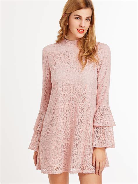 Pink Layered Dress pink keyhole mock neck layered ruffle sleeve lace dress