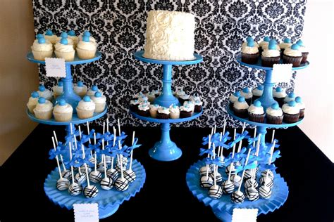 party themes with blue blue damask dessert table jenny cookies