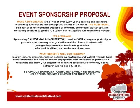 for event sponsorship california launch festival 2014 pitch deck