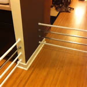 Tension rods as inexpensive pet gates obviously it wouldn t stop a