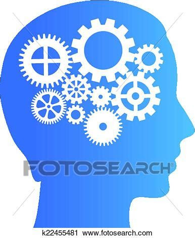 fotosearch clipart clipart of thinking brain with gears k22455481 search