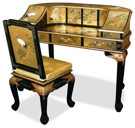 Decorated Kids Rooms by Gold Leaf Crane Motif Harpsichord Style Desk W Chair