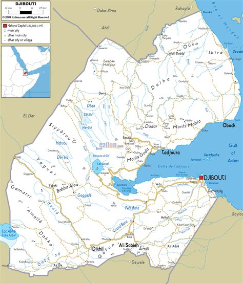 djibouti map large detailed road map of djibouti djibouti large detailed road map vidiani maps of