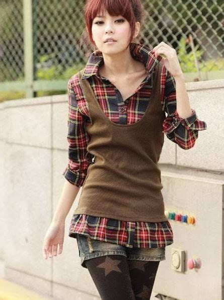 Mock Two Plaid Blouse brand new mock two cotton casual blouse