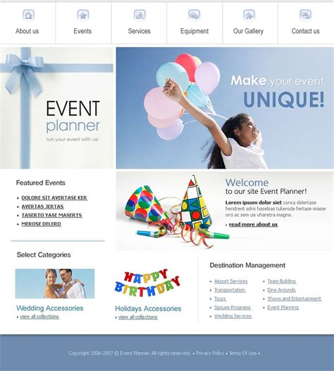 wedding planner website templates event planner website template 14603