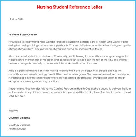 nursing reference recommendation letters samples