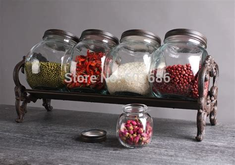 Spice Jar Stand Large Kitchen Food Spice Jars Herb Jam Glass Storage