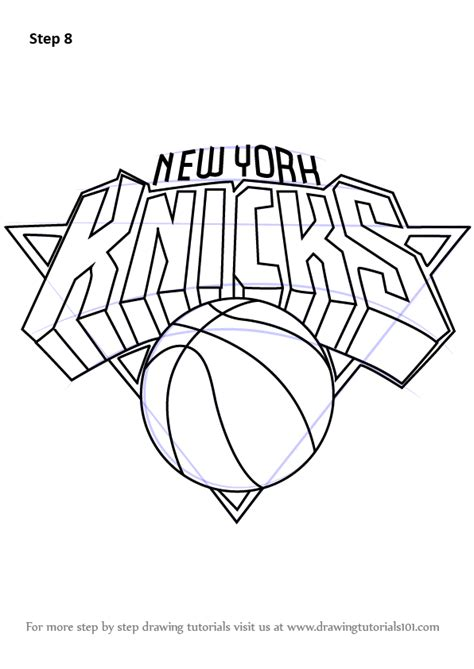 knicks basketball coloring pages learn how to draw new york knicks logo nba step by step