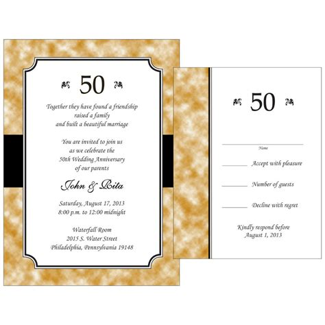 50th wedding anniversary response cards 25 personalized 50th golden anniversary invitations w