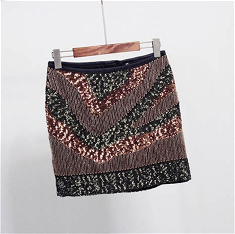 womens sequin skirt black gold tassel skirt