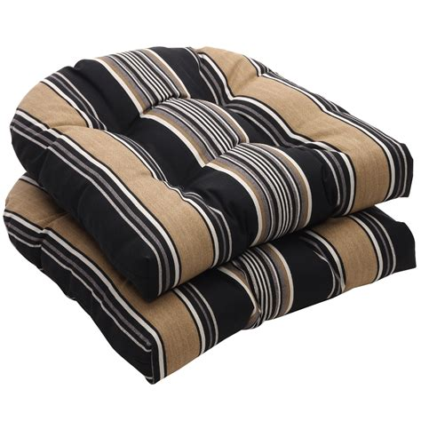 Black Patio Chair Cushions Furniture Black And Stripe Wicker Wicker Chair Cushions